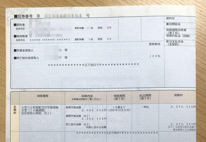 ソニー生命の保険証書