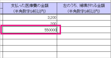 医療費控除の医療費集計フォームで出産費用を入力(金額)