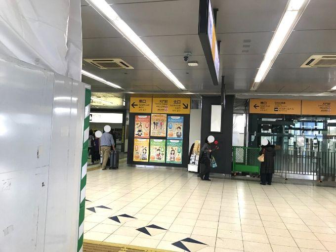JR浜松町駅エレベーターを3階(乗換・改札階)で下りたところ
